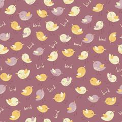 Amazing cute seamless vintage colorful bird pattern