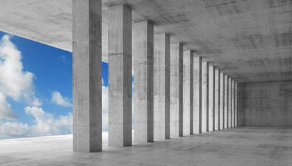 Empty interior with concrete columns, 3d illustration