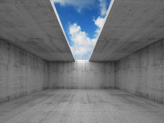 Abstract architecture, empty concrete room with opening