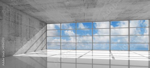 Empty concrete interior with bright windows, 3d