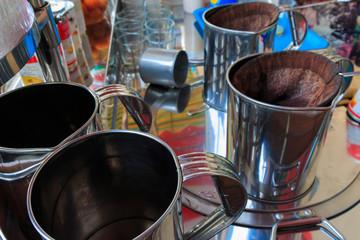Coffee percolator, Thai local coffee. selective focus.
