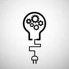 lightbulb with plug icon gears industrial concept