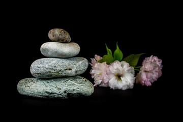 Stones on black background