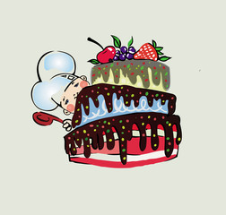 Little cook with cake in chocolate drawing cartoon