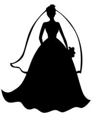 Silhouette of beautiful bride