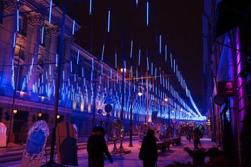 Festive illumination on Bolshaya Dmitrovka Street in Moscow at n