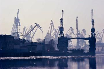 cargo sea port in St. Petersburg, Russia