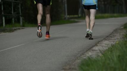 Runners feet at marathon race