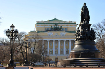 the monument to Catherine II and Alexandrinsky theatre in St. Pe