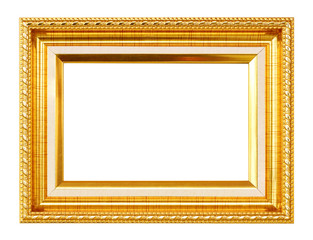 Gold frame. Gold pattern picture frame. Isolated on white