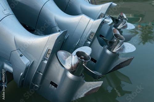 Leinwanddruck Bild Boat engines tune up