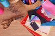 Samples of colorful fabric on wooden table, top view - 81865591