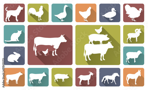 farm animals silhouettes isolated on white - 81865573