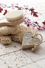 washing up with soft peeling and massage