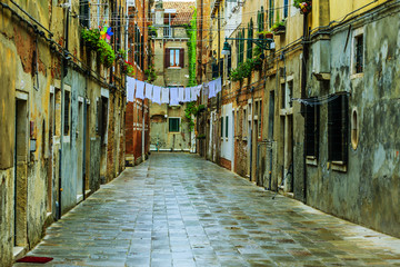 Venice, Italy - old street and historic tenements