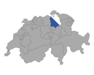 Karte der Schweiz mit Fahne von Zürich