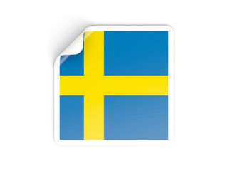 Square sticker with flag of sweden