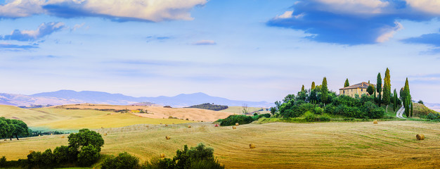 Tuscany landscape hills and meadow, San Quirico d´Orcia, Tuscan