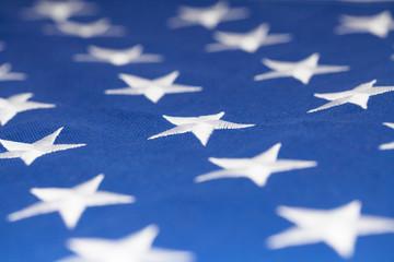 Stars on flag of United States of America - closeup studio shot