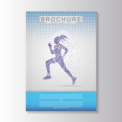 Vector brochure template design with Running girl. Vector