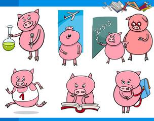 piglet character student cartoon set