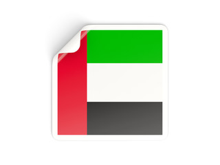 Square sticker with flag of united arab emirates