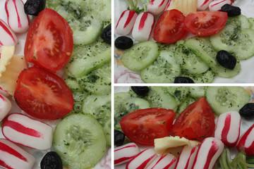 Crudités :Concombre Radis Tomate olive