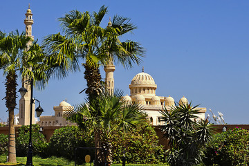 Mosque among palm trees in Hurghada, Egypt