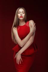 Elegance. Stylish Lady in Red Silky Dress