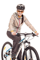 Attractive adult woman cyclist isolated on white background, stu