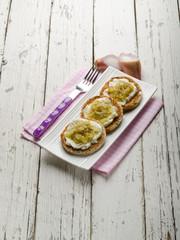 bruschetta with mozzarella shallot and pepper