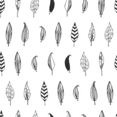 Vector feather background, retro pattern, etnic doodle collectio