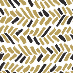 Trendy seamless pattern with ink brush strokes