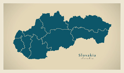 Modern Map - Slovakia with counties SK