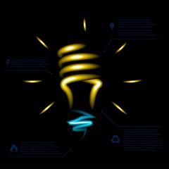 Stylish conceptual neon digital light bulb idea design.
