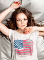 sexy woman brunette woman in shirt with American flag