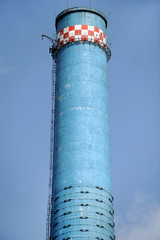 Thermal power plant blue smoke tower