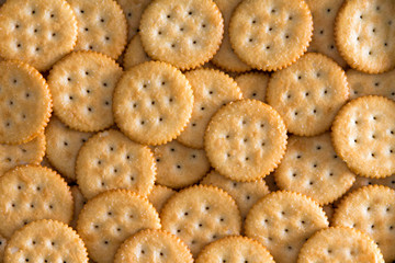 Salted Baked Round Crackers for Backgrounds