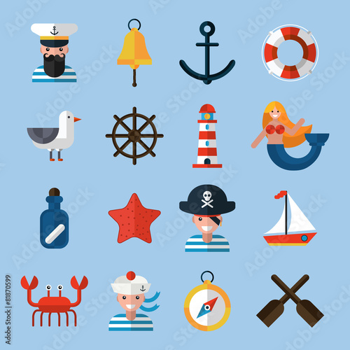 Nautical Icons Set - 81870599