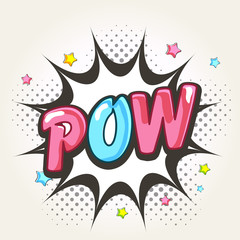 Pop art explosion with colorful text Pow.
