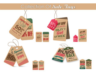 Collection of stylish Sale tags.