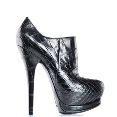 Women's boots black shoes with high heels on a white background