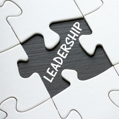 The word Leadership revealed by a missing jigsaw piece