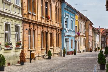 City street in Brasov, Romania.
