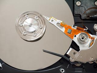 Computer hard disk drive inside