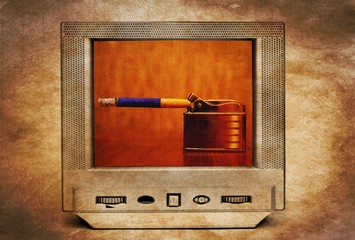 Trapped cigarette on TV