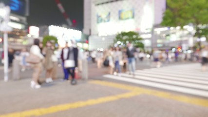 nonymous crowd of people walking in Shibuya