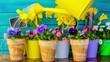 Spring garden, watering flowers - seamless loop