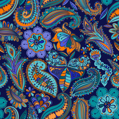 Vintage floral motif ethnic seamless background. © Machara