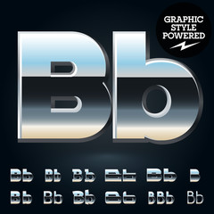 Vector set of glossy and shiny metal steel font. Letter B